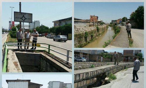 بررسی دیواره های رودخانه غازی محله که براثر بارندگی چندروز اخیر تخریب شدند